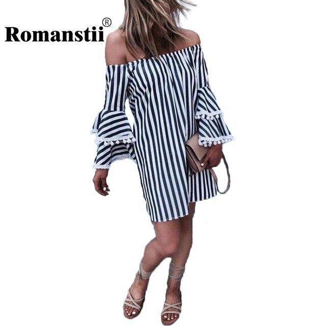 01d422d4d Romanstii Striped Dress Women 2017 Summer Spring Sexy Off Shoulder ...