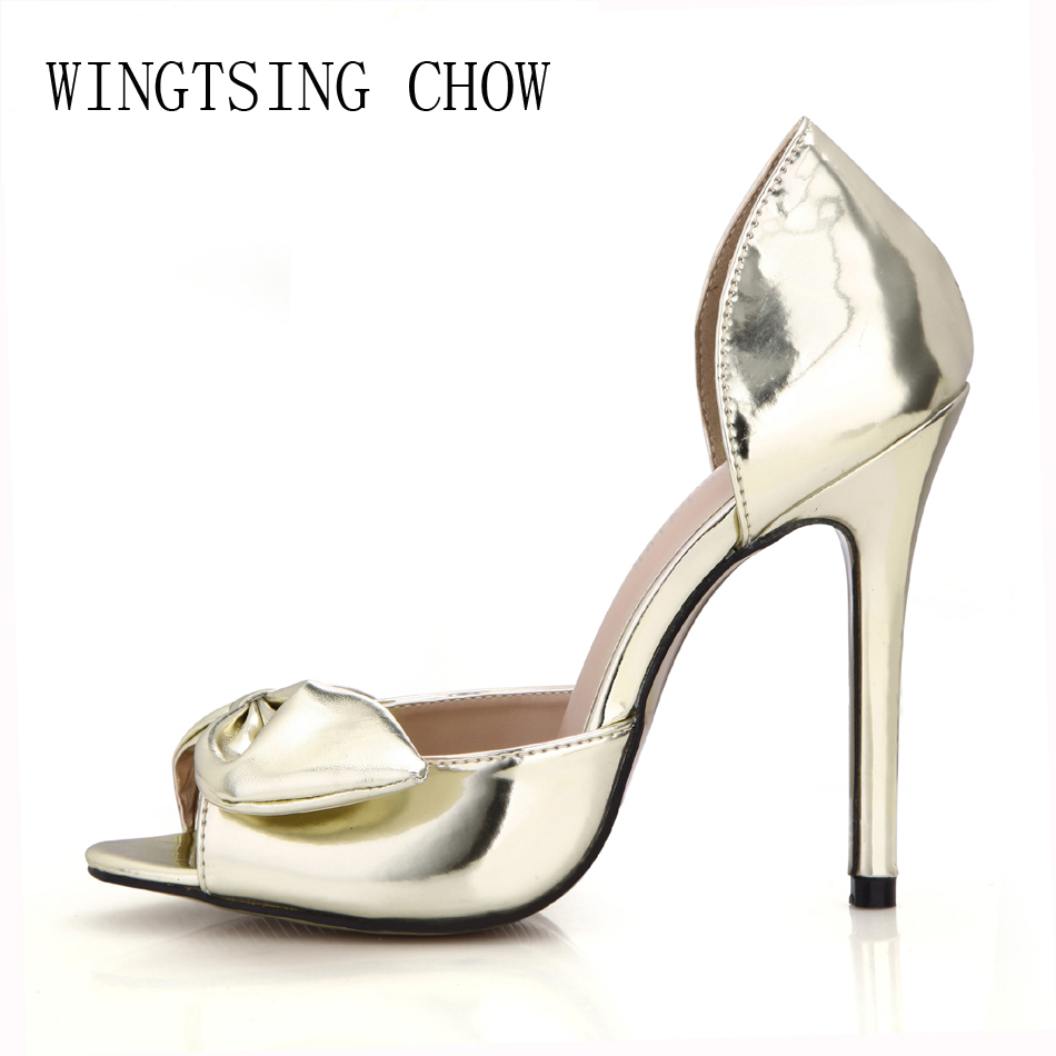 2017 New Gold Elegant Bridal Party Shoes Women Peep Toe Stiletto Super High Heels Bowtie Ladies Pumps Zapatos Mujer 0640C-L3 2017 new ivory sexy wedding bridal shoes women pointed toe stiletto super high heels chain lace lady pumps zapatos mujer 0640 f5