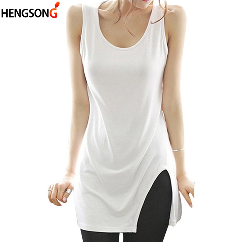 Summer Tank Top Women Sleeveless Side Split Long Vest Ladies White / Black Casual Shirt Women Tops