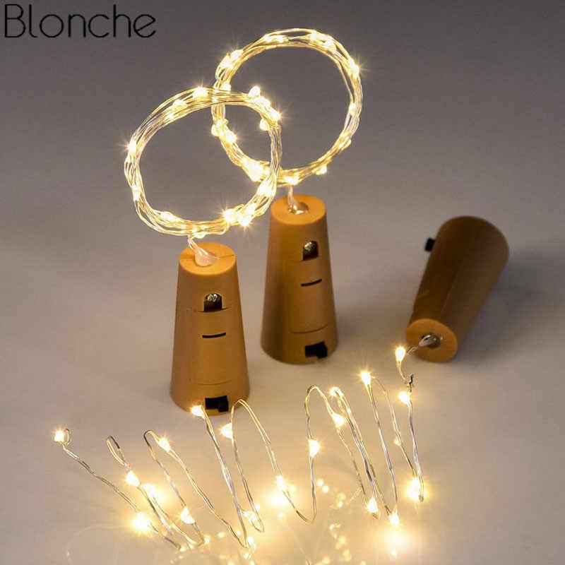 Garland LED String Lampu 1 M 2 M Kawat Tembaga Gabus Botol Anggur Rumah Pesta Natal Pernikahan Holiday Dekorasi DIY lampu Peri