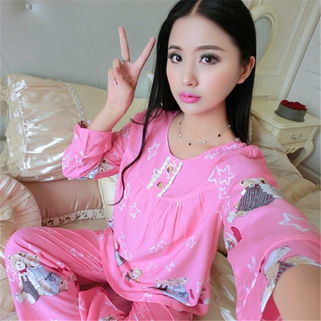 24a19be7f7 2018 Spring Autumn Pyjamas Women Satin Carton Cute Pijama Pattern Pajamas  Set Girl Pijama Mujer Sleepwear Young Girl Pajama Sets