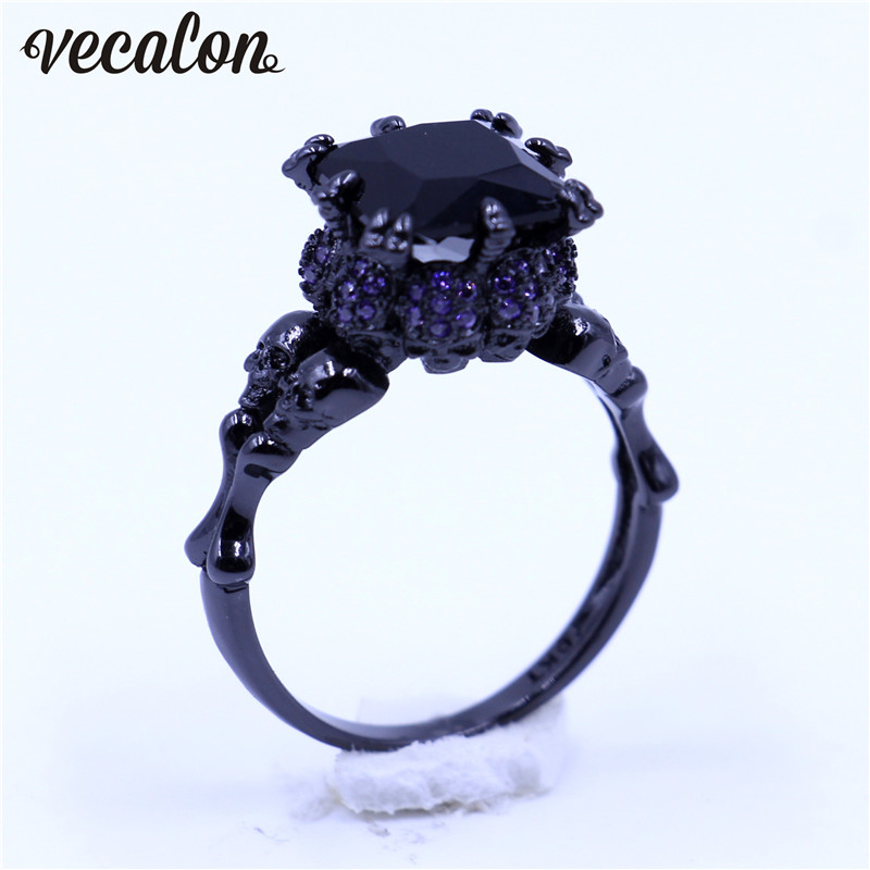 choucong skull jewelry women fashion engagement ring purple aaaaa zircon cz black gold filled wedding band