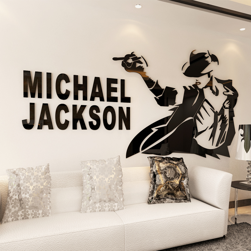 Michael Jackson 3D Acrylic Wall Stickers Restaurant Living Room Bedroom TV  Creative Wall Decorative Crystal Wall Part 82