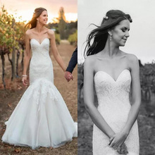 Boho Simple Country Wedding Dresses Mermaid 2019 vestido de noiva Sweetheart Lace Bridal Gowns Free Shipping Custom Made