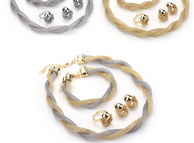 CWEEL Jewelry Set For Women African Beads Jewelry Set Wedding Twist Weave Choker Necklace Bridal Dubai Ethiopian Jewellery Sets (3)