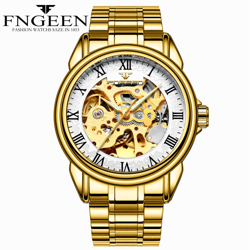 FNGEEN Mens Gold Watch Automatic Skeleton Watch 5ATM Water Resistant Solid Stainless Steel Wrist Watch Luxury Mechanical Relogio wholesale wilon mens stainless steel mechanical skeleton watch