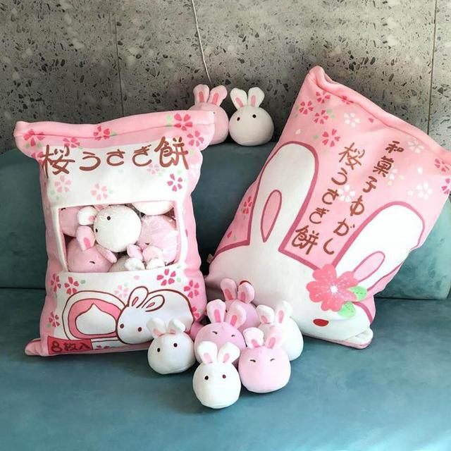 Cute Big Bag Chicken Pudding Big Bag Rabbit Pillow Doll Simulation Innovative Snacks Snack Dolls A Pack Of Children Plush Animal