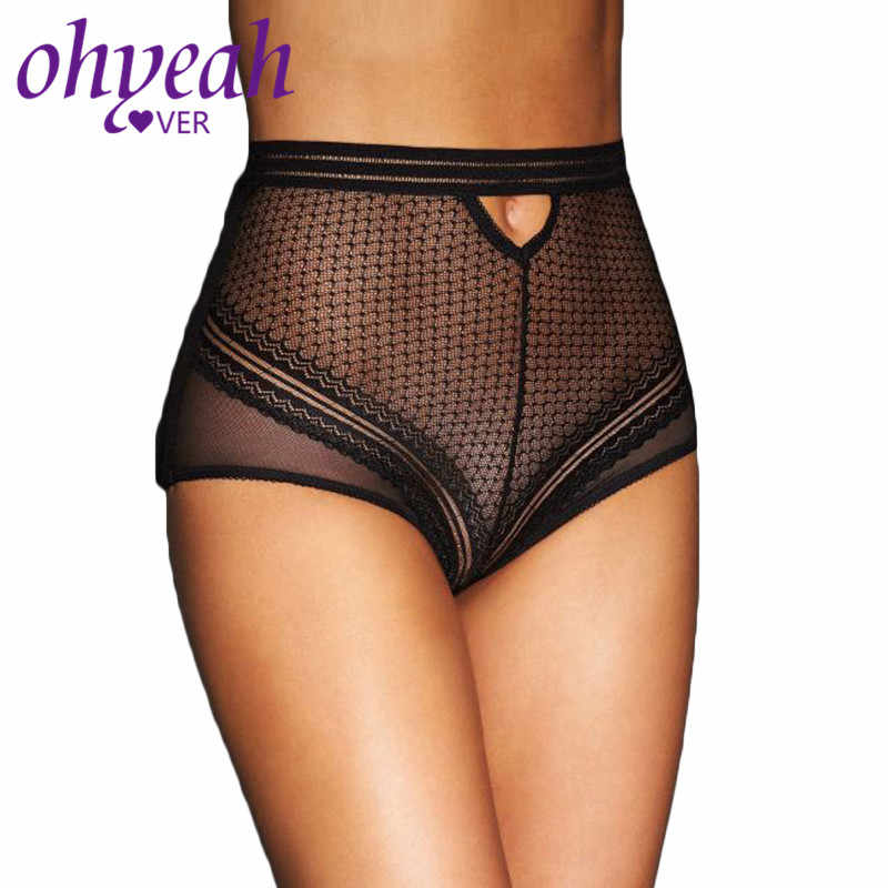13748bcf517 Ohyeahlover High Waist Panty Sheer Lace Women Panties Black Transparent  Intimo Donna Plus Size Sexy Bragas