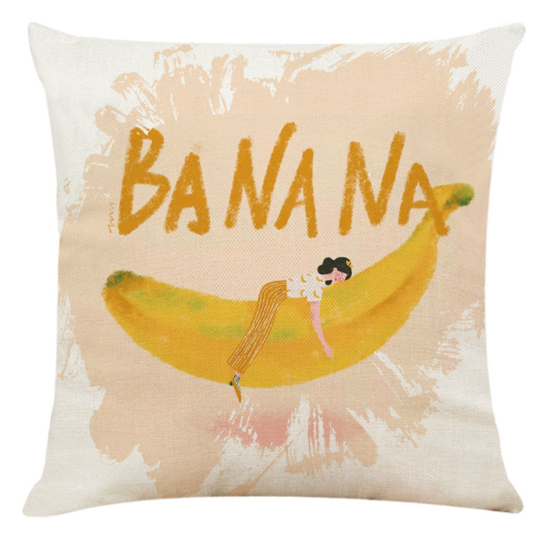 Fruit and girl printed Banana pineapple cushion cover Decorative home sofa seat car chair for Kids gift Decor bedroom pillowcase