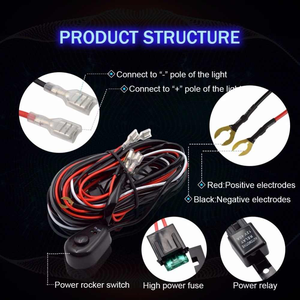 medium resolution of  car led light bar wire 2 5m 12v 24v 40a wiring harness relay loom cable kit