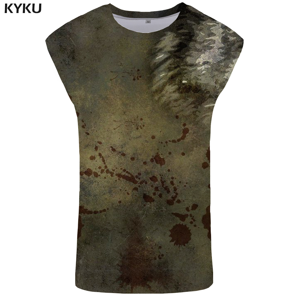 KYKU Wolf   Tank     Top   Men Blood Ftness Clothing Vintage Stringer Gothic Vest Undershirt Singlet Sleeveless Shirt   Tops   Hip Hop
