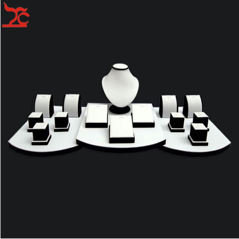 High Quality Ring Necklace Pendant Combination Kit Wooden Jewelry Display Counter Display Stand Holder Set Window Showcase Props treachi super jewelry display kit wooden counter bottom board holder set white and black jewelry display window showcase prop
