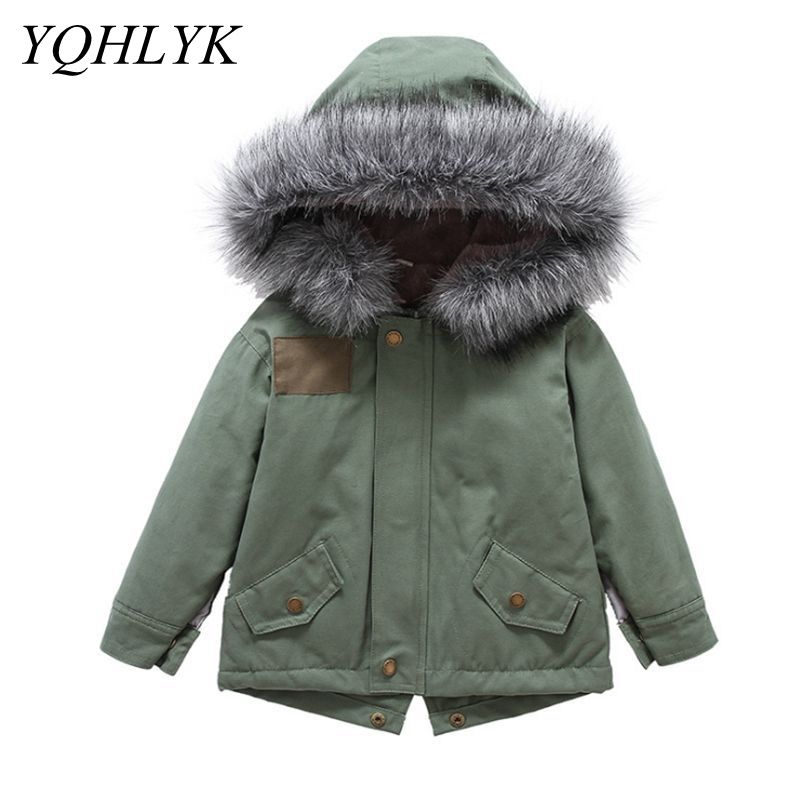 New Winter Boy Coat Hooded Fur Collar Parka Children Clothing Girls Jacket Thick warm Cotton Clothes Kids Outerwear 2-7 Year W41 все цены