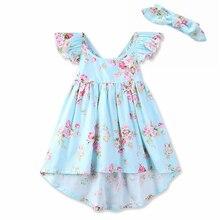 2018 Хлопок высокого класса Платье для маленьких девочек плюс повязка на голову 2018 новинка, летнее платье принцессы модная детская одежда с цветочным принтом платье
