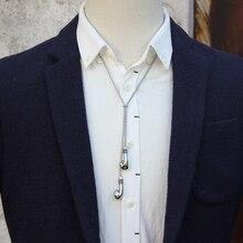 Originele designer rvs touw en oortelefoon hanger bolo ketting voor mannen persoonlijkheid bolo tie mode accessoire