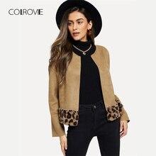 COLROVIE Khaki Leopard Print Elegant Cardigan Faux Fur Jacket Coat Women Clothes 2018 Autumn Vintage Office Ladies Outerwear