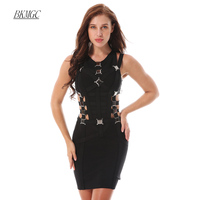 BKMGC New Arrival Summer Women Bandage Dress 2017 Sexy Black Hollow Out Party Bodycon Dresses V