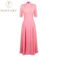 Sunvary High Collar Pink Mother Of The Bride Dress Short Sleeve Pleated Hemline Vestido Cheongsam Wedding
