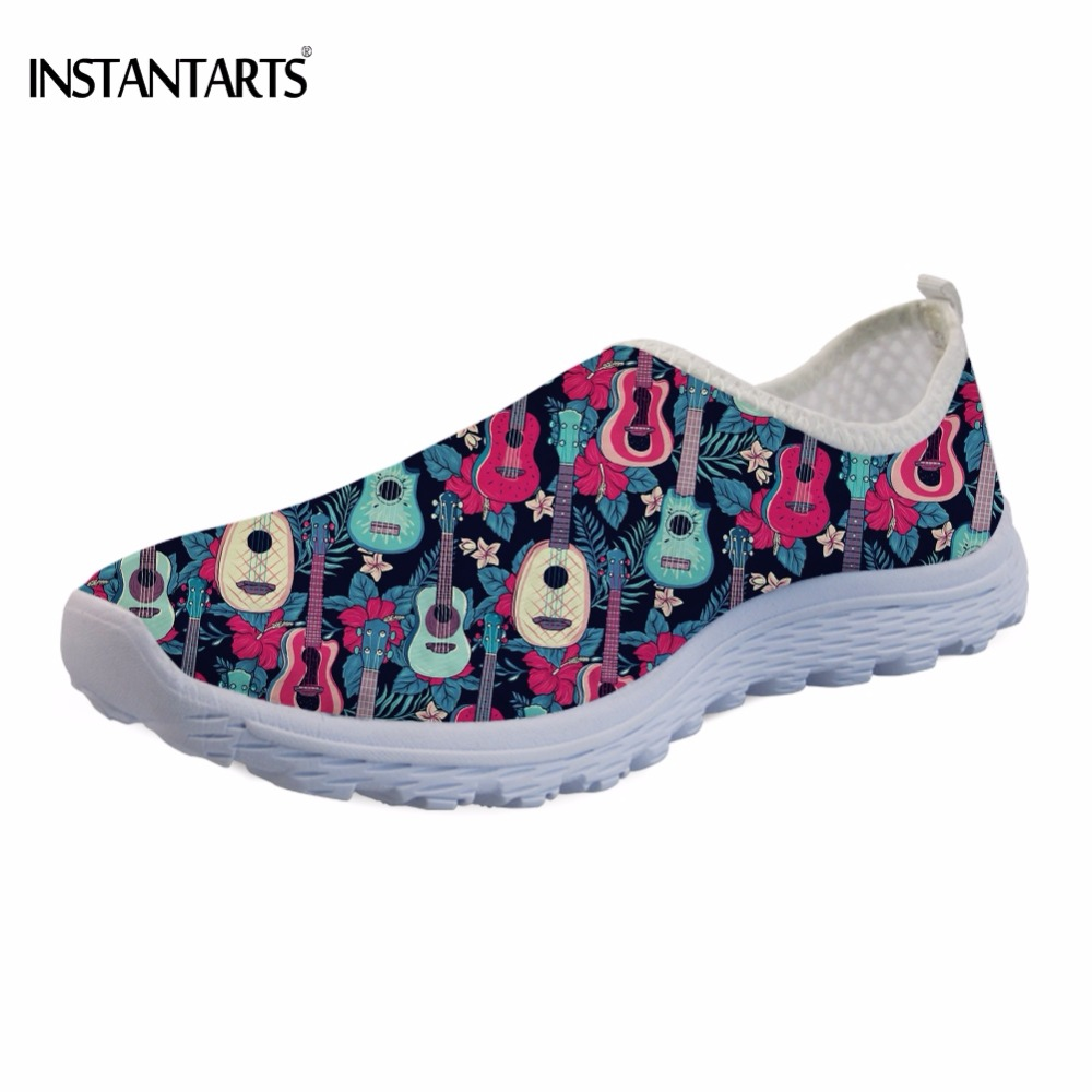 INSTANTARTS Music Tropical Ukulele Printing Students Lightweight Sneakers Fashion Women Air Mesh Flats Shoes Summer Slip-on Flat