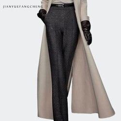 2018 женские длинные Панталоны на молнии с поясом, женские зимние широкие шерстяные штаны с высокой талией размера плюс, брюки свободного кро...
