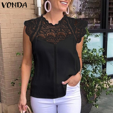 VONDA 2020 Women Blouse Tunic Sexy Sleeveless Lace Shirt OL Office Ladi