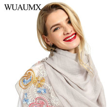 Wuaumx Autumn Women Scarf Embroidered Hijab Scarfs With Pearls Cotton Scarves For Female Shawl Wraps Lady Foulard Femme 12 Color