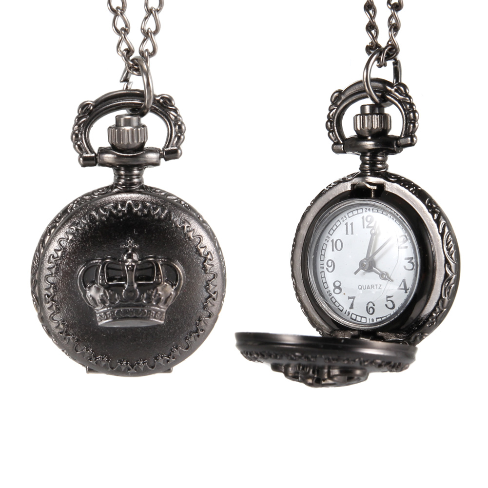 1pc Men Women Pocket Watch Crown Carved Pattern Case With Chain LL@17