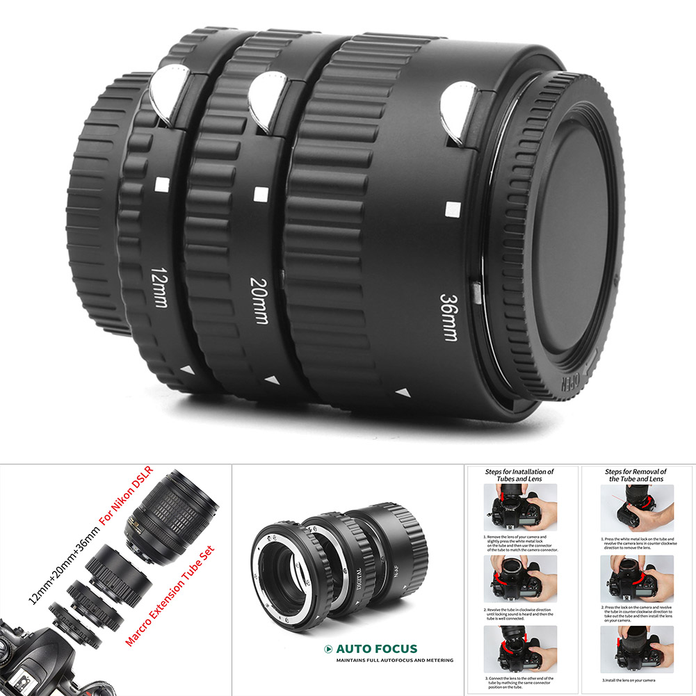 1 ensemble Tube d'extension de caméra mise au point automatique micro-éperon anneau de photographie pour Nikon GDeals