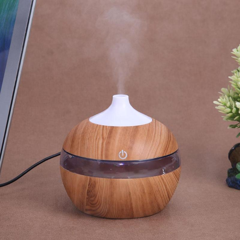 200ML Wood Grain Air Humidifier USB Charging Aroma Essential Oil Diffuser Multi Colors Changing LED Light