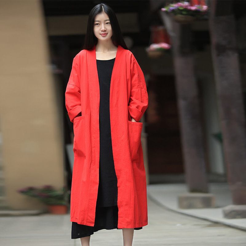 Kimono Femmes Chemisier Noir Rouge Blanc Chemise Vintage Printemps Été T-shirt 2018 Nouveau Occasionnel Lâche Coton Tops Blouse Avec Poches