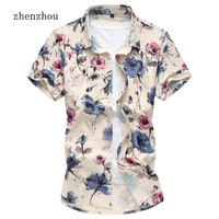2017 Summer New Floral Print Short Sleeve Mens Shirts Male Clothes Social Casual Shirt Men Brand