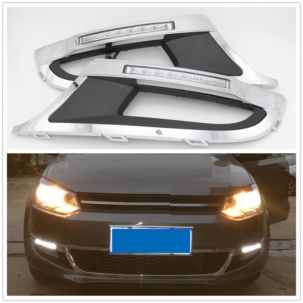 2pcs X For VW Polo 6R 2009 2010 2011 2012 2013 2014 Car-styling LED DRL Daytime Running Light Waterproof With Harness