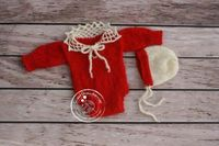 Lace Baby Christmas Outfit Mohair Newborn Girl hat Outfit Set Crochet Newborn Onesie Baby Photography Props Knitted Santa Bonnet