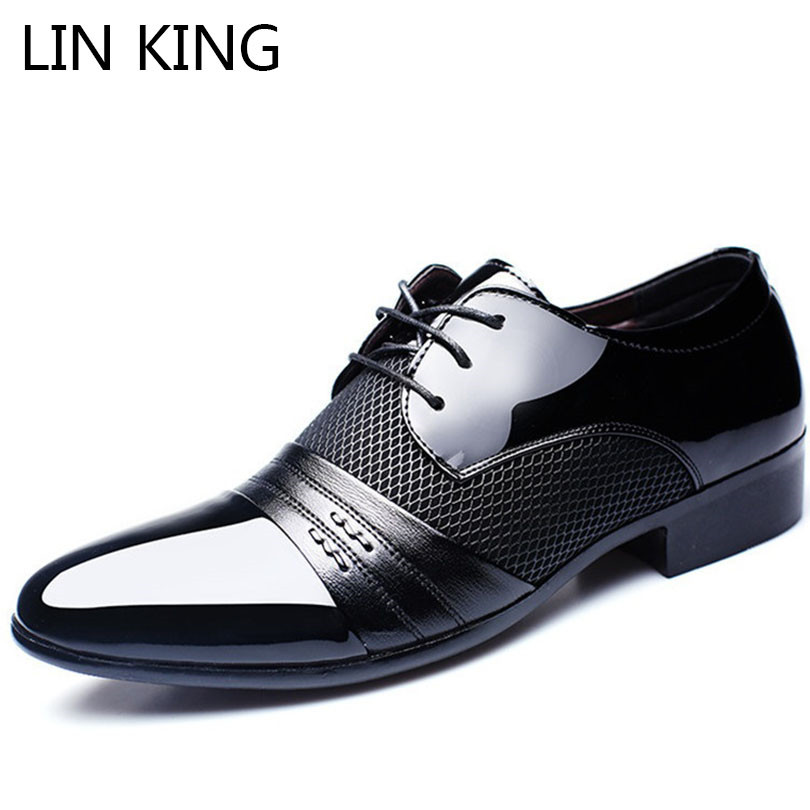 LIN KING Breathable Men Causal Shoes Pu Leather Business Office Dress Shoes Lace Up Oxfords Shoes Man Pointed Toe Wedding Shoes new 2018 fashion men dress shoes black cow leather pointed toe male oxfords business shoes lace up men formal shoes yj b0034