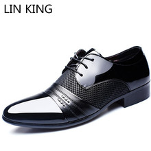 цены LIN KING Breathable Men Causal Shoes Pu Leather Business Office Dress Shoes Lace Up Oxfords Shoes Man Pointed Toe Wedding Shoes