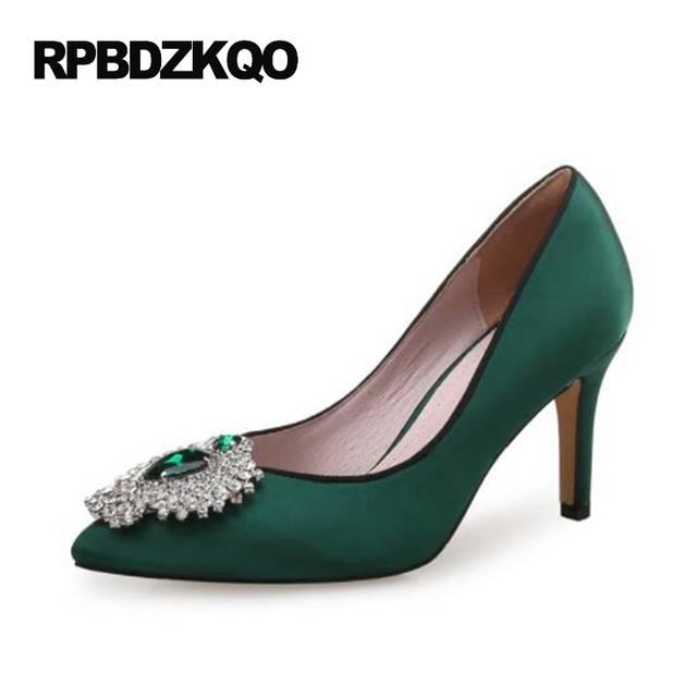 Green Satin Heels High Thin Crystal 12 44 2017 Shoes Crossdresser Red Size  33 Rhinestone Ladies 8a46b9402fe7