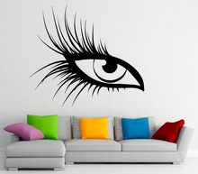 Girls Beauty Salon Wall Decal  Makeup Woman Eye Sexy Eyelashes Vinyl Stickers Hot Sale Interior Home Decor Art Mural SY25