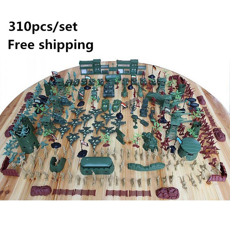 Free shipping Super-affordable military base 310pcs/set Plastics toy soldier sand table model army soldier boy Christmas gifts все цены
