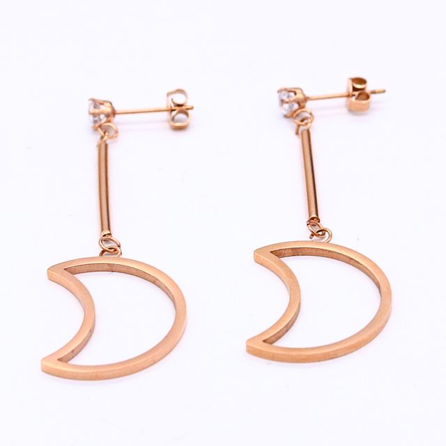 Europe and America simple hollow plane moon stud earrings rose gold crystal  earrings women's fashion jewelry