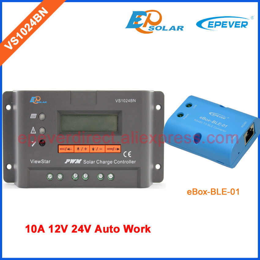 PWM EPEVER 10A 10amp VS1024BN solar controller lcd display regulator New series bluetooth function 12v 24v auto work 10a 10amp mini home controller 12v 24v auto work ls1024b pwm solar battery regulator bluetooth function and cables epever