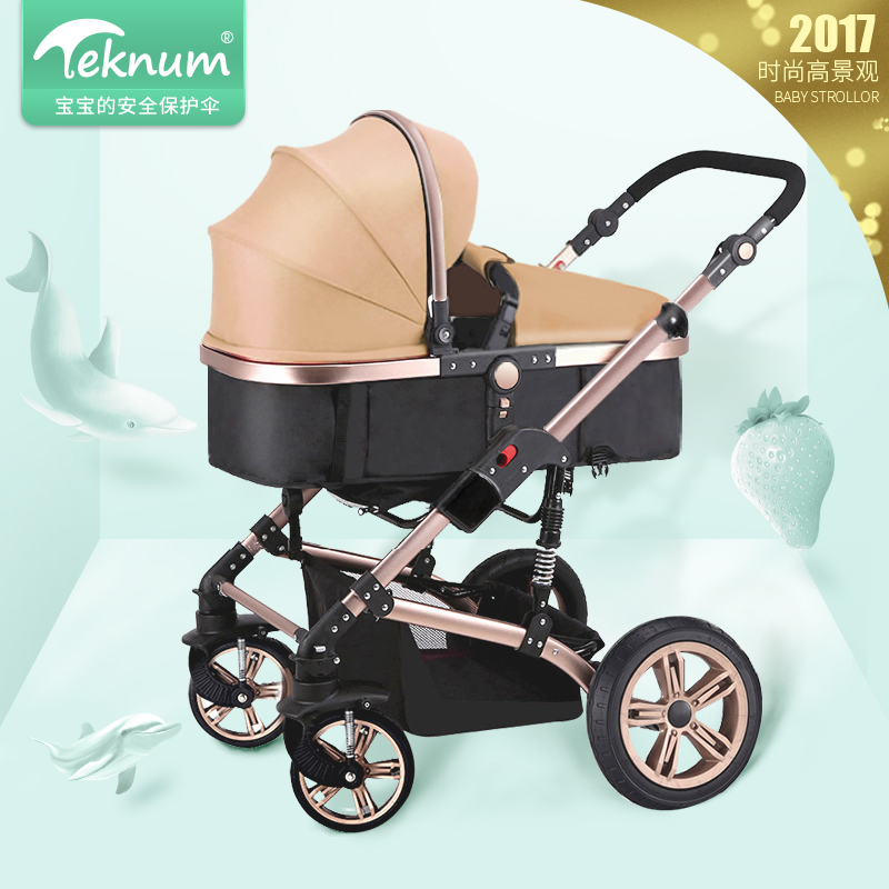 Hk Teknum 2-in-1 stroller high landscape baby trolley can sit can lie BB carriage folding four seasons general trolley child car high landscape baby stroller can sit and lie in a folding baby four seasons universal newborn baby summer baby stroller