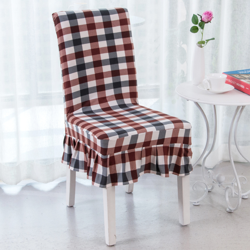 Elastic Pattern Chair Covers Polyester Lattice Printed Chair Covers For  Weddings Banquet Dining Short Skirt Chair