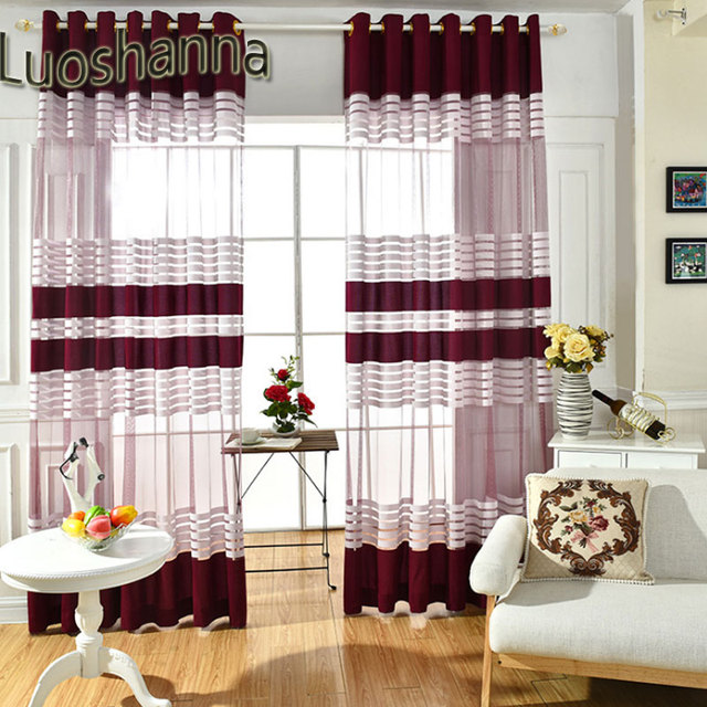 Luoshanna 2018 New Style Modern Design Wine Red White Stripe Tulle Curtain For Living Room Sheer