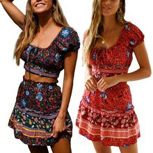 Women Ladies 2 Pieces Floral Print Summer Dress Ruffle Off Shoulder Beach Mini Short dress Vintage Lace Up Sundress