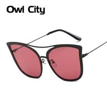 Fashion Cat Eye Sunglasses Women Brand Designer Vintage Rose Gold Mirror Oversized Sun Glasses Flat Ladies UV400