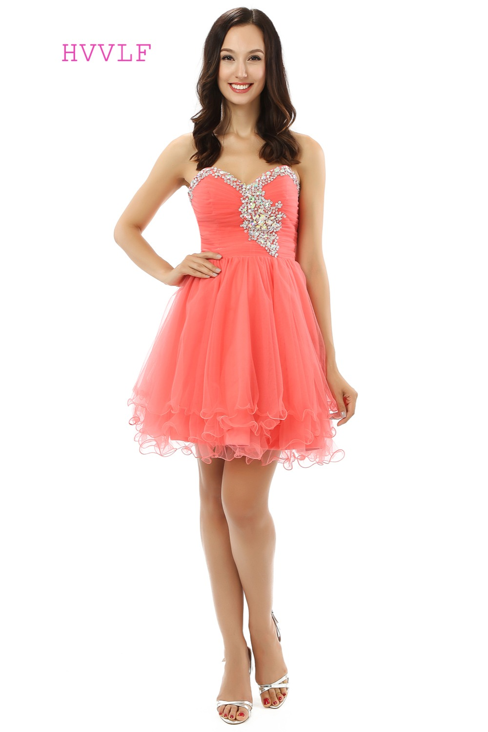 Coral Homecoming Dresses A-line Sweetheart Organza Beaded Crystals Short Mini Sparkly Sweet 16 Cocktail Dresses 2019