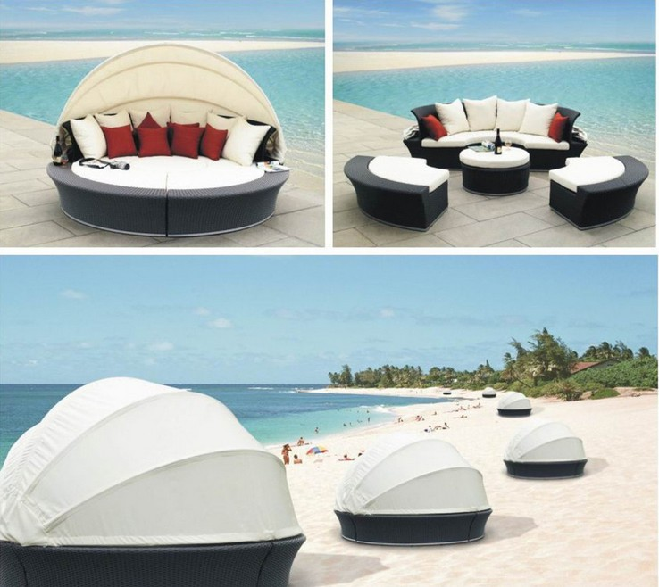 2017 seaside outdoor rattan furniture daybed round bedchina mainland