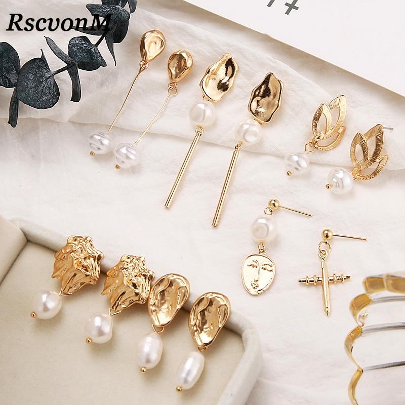 RscvonM New Design Matte Metal Gold Asymmetric Cross Heart Geometric Irregular Natural Freshwater Pearl Stud Earrings For Women