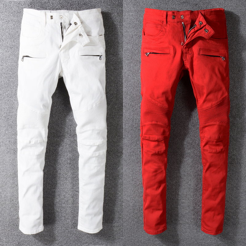 High Street Fashion Men's   Jeans   Spliced Slim Fit Cargo Pants Big Size 29-42 White Red Color Hip Hop   Jeans   Men Biker   Jeans   homme