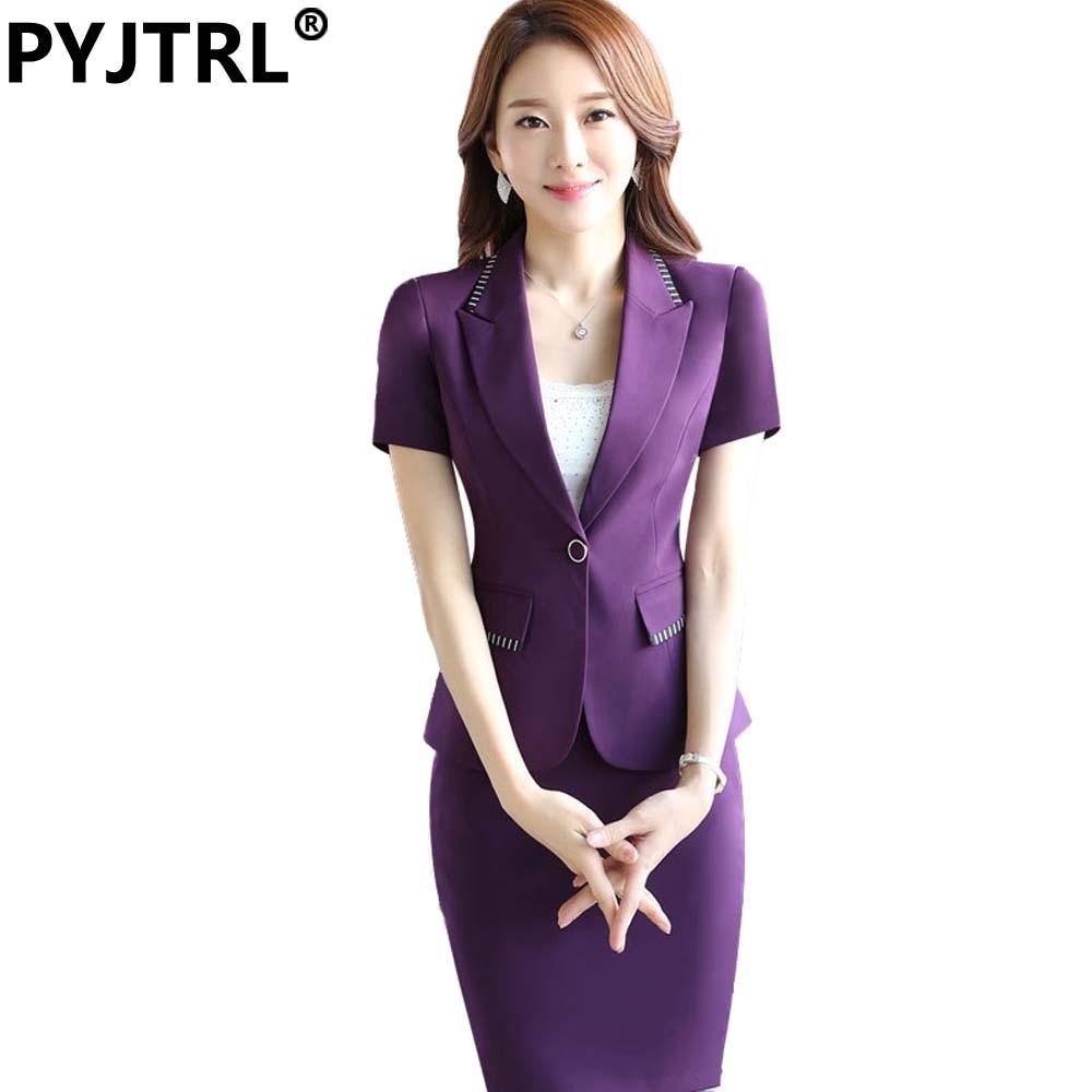 58a4876c9d21 Jacket+Skirt) Summer Short Sleeve Women Elegant Office Skirt Suits ...